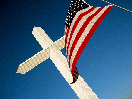The American flag and the cross
