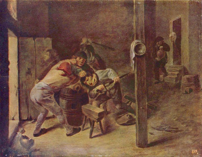 Die Rauferei by Adriaen Brouwer, 1640 (CC.)