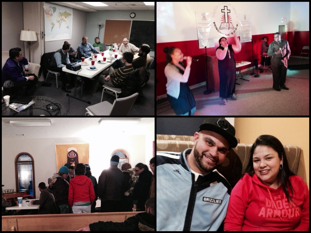 Clockwise from top left: pastors' lunch in Indianapolis; Sunday worship in Champaign; dinner with potential church planters in Marion; warming center in Bloomington.